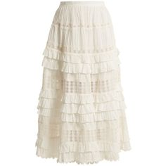 Zimmermann Corsair lace and ruffle-trimmed cotton skirt (51.845 RUB) ❤ liked on Polyvore featuring skirts, ivory, ivory lace skirt, lace skirts, midi skirts, white lace skirts and ruffle midi skirt