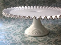 Milk Glass Cake Stand / 13 Wedding Cake Stand by TheRocheStudio