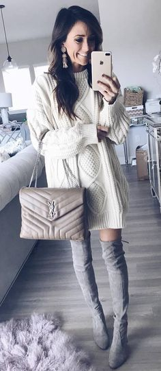 trendy outfit idea / sweater dress + bag + grey over the knee boots