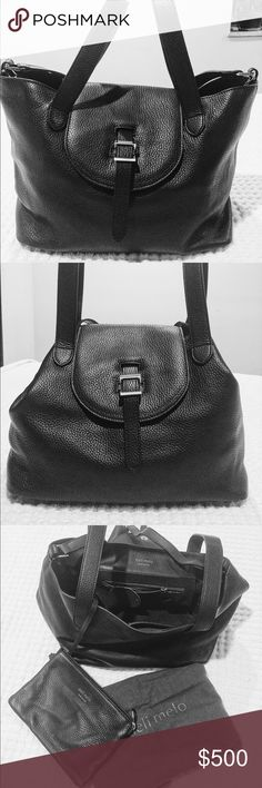 Meli Melo Medium Thela Handbag NWT Black Italian leather  Two top inverted handles Optional shoulder strap Flap and pull through fastening Silver hardware Internal pouch pocket, internal zip pocket Detachable leather clutch bag Measurements: H: 24 x Base W: 30 x Top W: 42 x D: 20 cm meli melo Bags Shoulder Bags