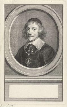 Jacob Houbraken | Portret van Johan de Knuyt, Jacob Houbraken, Aert Schouman, 1747 - 1759 | Buste naar links van Johan de Knuyt in een ovaal. Het portret rust op een plint waarop een leeg veld voor zijn naam.