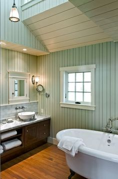 traditional bathroom by Whitten Architects wall color sea salt by SW.