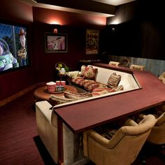 Bar behind the couch, love it. Nice for a basement