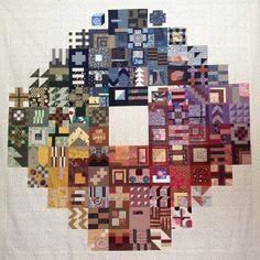 Stunning Tula Pink 100 blocks layout by Aizome on Threadbias
