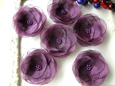 Water Lilies- Organza sew on flower appliques, fabric flowers, handmade floral embellishments for crafts (5 pcs)- METALLIC PLUM PURPLE