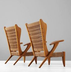 Guglielmo; Ash and Rope Lounge Chairs, 1950s.