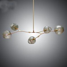 5 head hanging Lights Black Gold Glass Shade Retro Lindsey adelman chandelier Lamp Fixtures