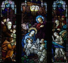 """""""Angels at the Manger"""" Stained Glass Window"""