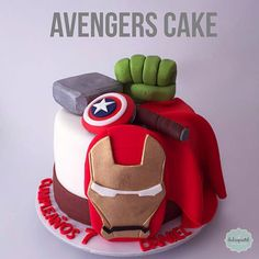 Superhero First Birthday Party Cakes - Kid Transit Superhero First Birthday, Avengers Birthday Cakes, Superhero Cake, First Birthday Cakes, Superman Cakes, Marvel Cake, Pastel Avengers, Thanos Avengers, Avenger Cake