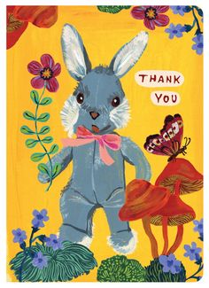 """Convey your gratitude with this gorgeously illustrated greeting card featuring the delightful artwork of Nathalie Lete - Features artwork by Nathalie Lete - Bi-Fold - Includes matching envelope - 6"""" x"""