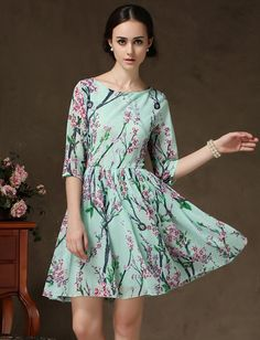 Shop Light Green Half Sleeve Floral Pleated Dress online. Sheinside offers Light Green Half Sleeve Floral Pleated Dress & more to fit your fashionable needs. Free Shipping Worldwide!