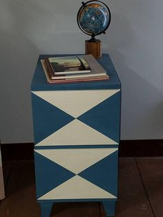 Hand Painted. Bold Geometric Nightstand or End Table. Blue and Off White Diamond Pattern. Two Deep Drawers 13 1/4wide X 18 1/2deep X 23 1/2 H   ++++++NO SHIPPING ON THIS ITEM+++LOCAL PICK-UP ONLY++++++
