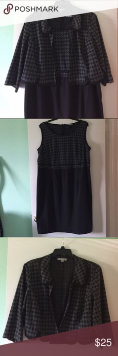 2 Piece Houndstooth Dress and Jacket Set Purchased from JCPenny. Size 22W. Worn once. Two piece jacket and dress. Both the jacket and dress have matching black and gray houndstooth pattern. The dress is sleeveless and has a pretty bow just at the waist. The jacket is 3/4 sleeves and has a scalloped hemline. Nice weight to the fabric. 80% polyester/ 19% rayon / 1% spandex. Danny and Nicole Dresses