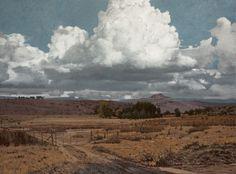 John Meyer / In a Past Province / acrylic & sand on canvas / 115 x 155 cm Landscape Art, Landscape Paintings, Acrylic Paintings, John Meyer, South African Artists, Mixed Media Canvas, Western Art, Clouds, Fine Art