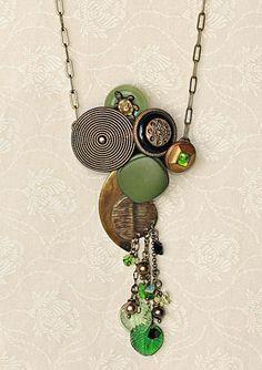 @: Vintage Button Necklace - Bakelite, Rhinestone Vintage Buttons, Brass, Czech Leaves, Swarovski Pearls and Butterflies