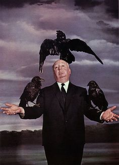 hitchcock with his bird friends