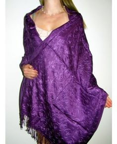 Lovely Purple Embroidered Pashmina - Embroidered Shawls - Pashmina Shawls