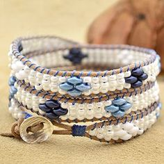 Free Superduo Wrap Bracelet Project Tutorial   Seashore   Beadshop.com