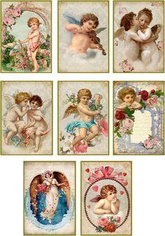 Vintage Valentine cherub angel antique illustrations set of 8 scrap booking