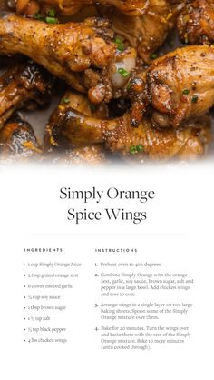 A new twist on a party-food favorite: Try this recipe for Simply Orange Spice Wings for a sweet and savory game-day snack. Turkey Recipes, New Recipes, Dinner Recipes, Cooking Recipes, Favorite Recipes, Healthy Recipes, Baked Chicken Wings, Chicken Wing Recipes, Chicken Menu