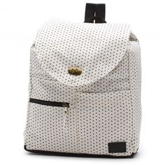 The Nebula Backpack is a small 100% cotton backpack with 100% polyester lining. It features an allover print, small zippered front pocket, a toggle close, and a 13-liter capacity.