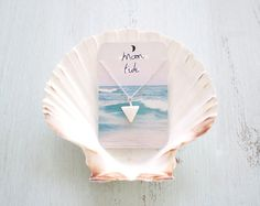 White Sea Shell Triangle Necklace by MoonTideJewellery on Etsy