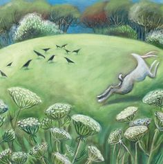 'Hare and Crows' By Painter Hannah Giffard. Blank Art Cards By Green Pebble. www.greenpebble.co.uk