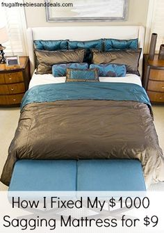 How to fix a sagging mattress: I modified this idea by strategically placing old towels around the bed between the mattresses. It worked very well! Home Bedroom, Master Bedroom, Bedroom Decor, Zen Bedrooms, Bedroom Themes, Bedroom Ideas, Hotels, Loft, Home Repair