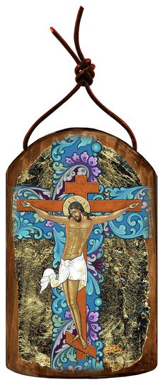 """Crucifixion 4.75""""h Museum Icon Wooden Ornament, Handcrafted Sacred Art, Wall Hanging Plaque Inspirational Decor 87058 by iconartbyhand. Explore more products on http://iconartbyhand.etsy.com"""