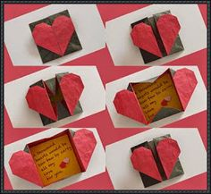 simple crafts making: Origami Heart Box envolpe making..