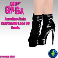 Sims 3 Shoes, Sims 4 Characters, Azzedine Alaia, The Sims4, Lady Gaga, Lace Up Boots, Clay, Clothes, Fashion