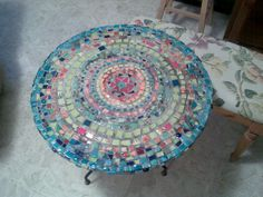 Mosaic table inspired by  mediteranian colours made by moi.