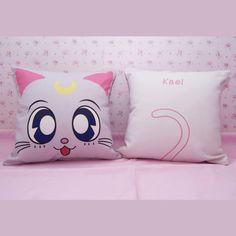 artemis pillow| $36  kawaii sailor moon mahou kei fairy kei pastel fachin home decor bedroom bedding cat etsy
