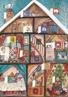 Advent Calendar Card by Jane Ray House Quilts, Holiday Treats, Vintage Postcards, Childrens Books, Illustrators, Advent Calendar, Kids Rugs, Drawings, Artist