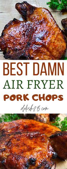 BEST DAMN AIR FRYER PORK CHOPS Air Fryer Oven Recipes, Air Frier Recipes, Air Fryer Dinner Recipes, Air Fryer Recipes For Pork Chops, Dinner Recipes With Pork Chops, Fried Pork Steak, Fried Pork Chops, Crock Pot Pork Chops, Teriyaki Pork Chops