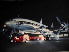 AIR FRANCE CONSTELLATION  peinture originale