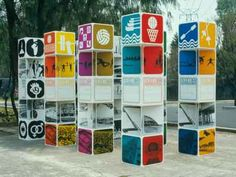 Portable signage for the 1968 Olympics in Mexico City