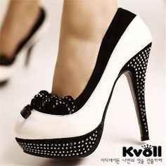white / black polka dot high heel
