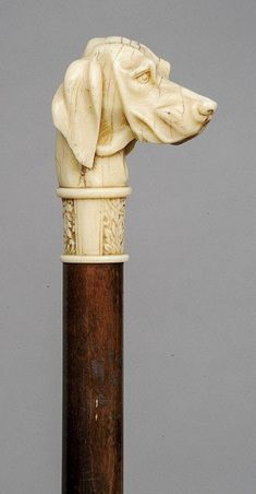 A 19th century carved ivory dogs head handled walking stick Finely carved as a retriever type dog. 92 cm long.