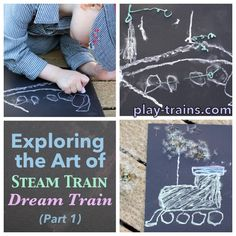 Exploring the art of Steam Train, Dream Train -- the follow-up to Goodnight, Goodnight, Construction Site -- with my preschooler by drawing trains.