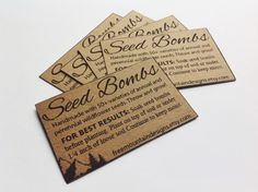 50 Planting Instruction Cards by FreeMountainDesigns on Etsy https://www.etsy.com/listing/270174339/50-planting-instruction-cards
