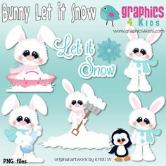 Bunny Let it snow Digital Clipart  Clip art for by Graphics4kids