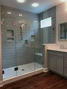 If you are looking for Master Bathroom Shower Remodel Ideas, You come to the right place. Here are the Master Bathroom Shower Remodel Ideas. Master Bathroom Shower, Master Bathrooms, Bathroom With Wood Floor, Small Bathroom Showers, Wood Tile Shower, Bathroom Mirrors, Tiled Showers, Subway Tile Showers, Bathroom With Gray Tile