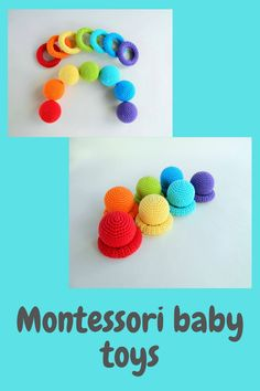 Montessori baby toys/Rainbow balls and rings/Organic baby toys for homeschool/Waldorf crochet fidget toy Beginner Crochet Projects, Crochet For Beginners, Crochet For Kids, Crochet Ideas, Crochet Patterns, Crochet Ball, Crochet Toys, Sensory Games, Organic Baby Toys