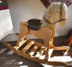 HUGE Wooden Rocking Horse Solid Oak with Faux Leather Saddle Amish Handcrafted Toddler Toy Nursery Playroom Furniture Decoration