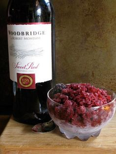 <i>2 c. fresh or frozen blackberries ½ c. water 1 c. Woodbridge by Robert Mondavi Sweet Red Wine 2 tbsp. sugar 1 tbsp. lime juice from ½ a lime </i> Combine all ingredients in a blender. Blend until smooth. Pour into a shallow glass dish. Place the dish in the freezer. When ice crystals begin to form, scrape the mixture with a fork every 20 minutes. Be sure to scrape the sides and bottom of the dish completely to ensure even freezing. When the granita is completely frozen, ...