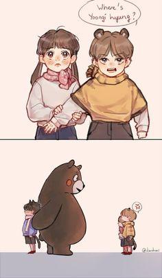 :,)) yoongi loves kumamon so -,- Jungkook Fanart, Vkook Fanart, Bts Chibi, Kpop Memes, Bts Drawings, Bts And Exo, Bts Fans, Cute Gay, Taekook