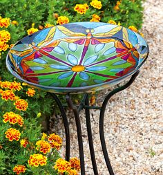 Decorative Garden Landscaping | Stained Glass Dragonfly Dance Bird Bath