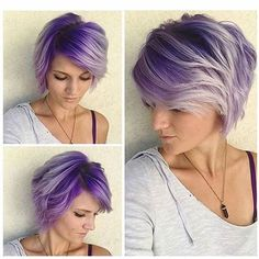 hair highlights pixie 46 Ideas hair color purple pixie for 2019 46 Ideas hair color purple pixie for 2019 Short Purple Hair, Hair Color Purple, Cool Hair Color, Short Hair Cuts, Short Hair Styles, Purple Tips, Purple Ombre, Gray Ombre, Purple Gray
