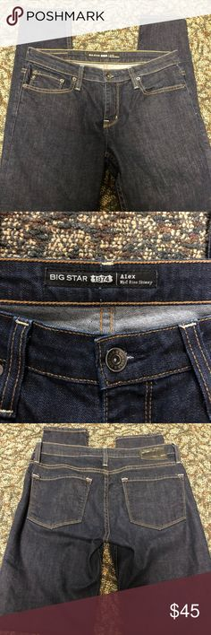 """Big Star Alex Mid Rise Skinny Jean Size 29R Big Star Alex Skinny Jean 29R Dark wash Like new, worn one time  Machine wash  Measurements are approximate: Length 41""""  Inseam 31""""  Questions welcomed  Thanks for looking Big Star Jeans Skinny"""
